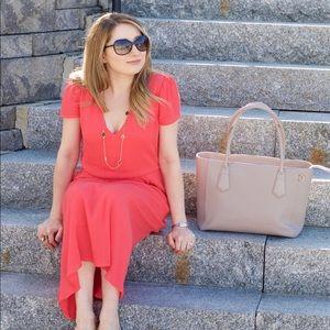 Wayf coral midi dress (Nordstrom) XS